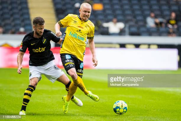 Simon Lundevall of IF Elfsborg against Robert Lundstrom of AIK during an Allsvenskan match between AIK and IF Elfsborg at Friends Arena on July 13,...