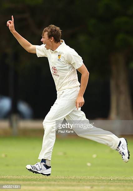 Simon Mackin of Western Australia celebrates the wicket of Steve Cazzulino of Tasmania during day one of the Futures League match between Western...
