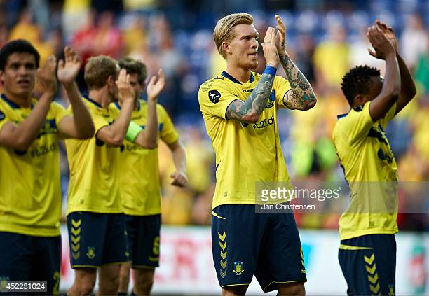 Simon Makienok Christoffersen of Brondby IF and rest of the players og Brondby IF celebrates their victory after the Pre-Season Friendly match...