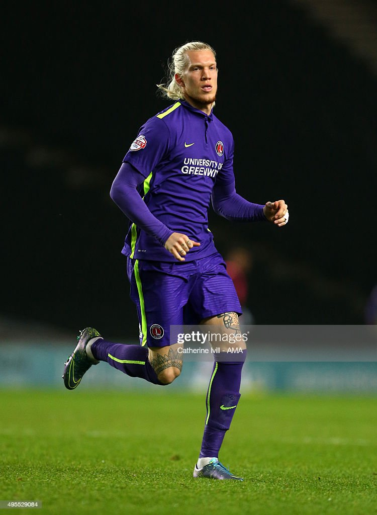 Simon Makienok of Charlton Athletic during the Sky Bet Championship match between MK Dons and Charlton Athletic at Stadium mk on November 3, 2015 in Milton Keynes, United Kingdom.