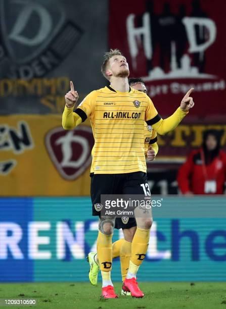 Simon Makienok of Dresden celebrates his team's second goal during the Second Bundesliga match between SSV Jahn Regensburg and SG Dynamo Dresden at...