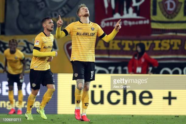 Simon Makienok of Dresden celebrates his team's second goal during the Second Bundesliga match between SSV Jahn Regensburg and SG Dynamo Dresden at...