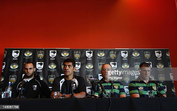 Simon Mannering and Stephen Kearney of the Kiwis sit with Tim Sheens and Paul Gallen of the Kangaroos during a press conference ahead of the ANZAC...