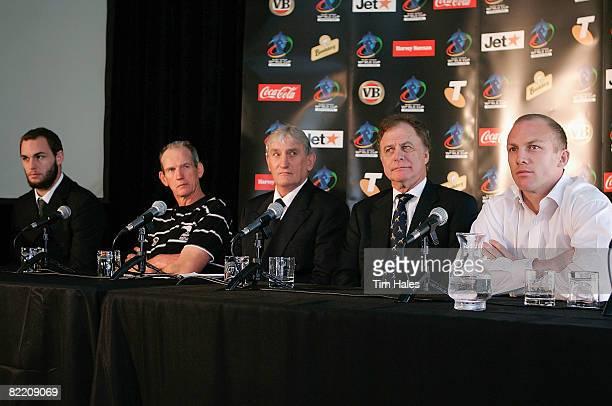 Simon Mannering of the New Zealand Kiwis Wayne Bennett Kiwi Management Advisor Ray Haffenden New Zealand Rugby League Chairman Colin Love Rugby...