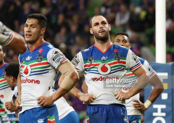 Simon Mannering of the Warriors and his teammates react behind their goal line after conceeding a try during the round eight NRL match between the...