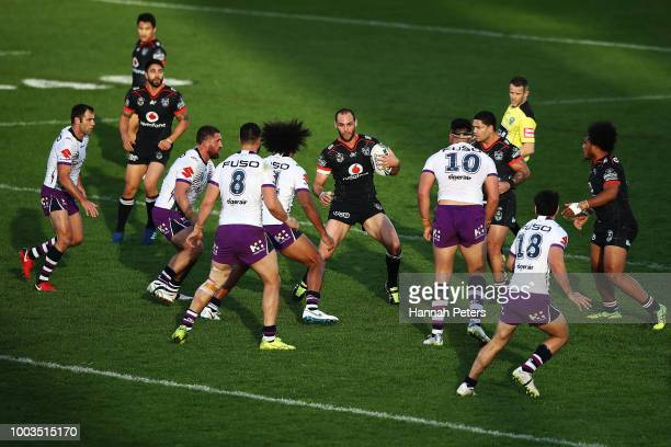 Simon Mannering of the Warriors charges forward during the round 19 NRL match between the New Zealand Warriors and the Melbourne Storm at Mt Smart...