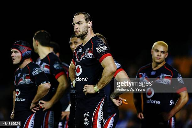Simon Mannering of the Warriors look dejected during the round 24 NRL match between the New Zealand Warriors and the North Queensland Cowboys at Mt...
