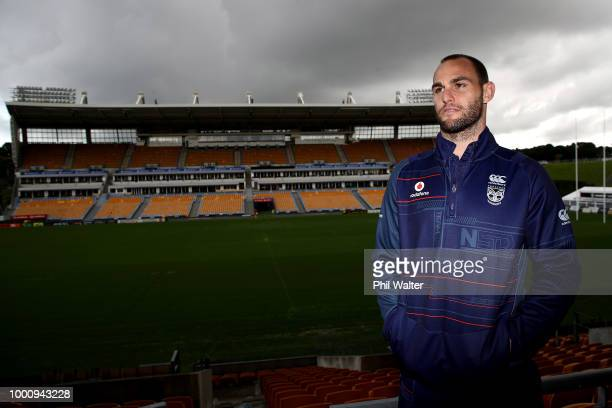 Simon Mannering of the Warriors poses for a portrait following a press conference to announce his retirement at Mt Smart Stadium on July 18 2018 in...