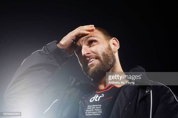 Simon Mannering of the Warriors shows his emotions after winning his 300th match and the round 25 NRL match between the New Zealand Warriors and the...