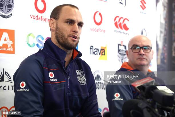 Simon Mannering of the Warriors speaks to the media alongside Warriors CEO Cameron George during a press conference to announce his retirement at Mt...