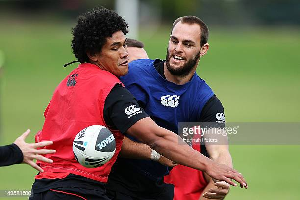 Simon Mannering runs through drills during a New Zealand Warriors NRL training session at Otahuhu College on April 30 2012 in Auckland New Zealand