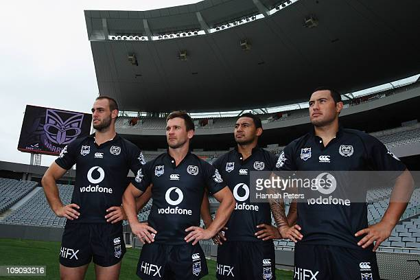 Simon Mannering Shaun Berrigan Krisnan Inu and Feleti Mateo pose for a photo wearing a new special edition jersey for their first game after a New...