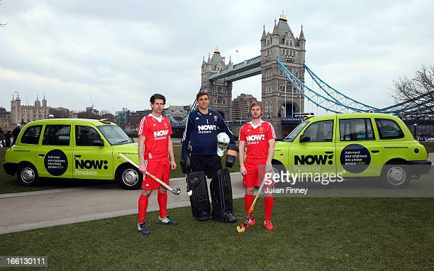 Simon Mantell George Pinner and Ashley Jackson during NOWPensions England Hockey Photo Shoot at Potters Field on April 3 2013 in London England