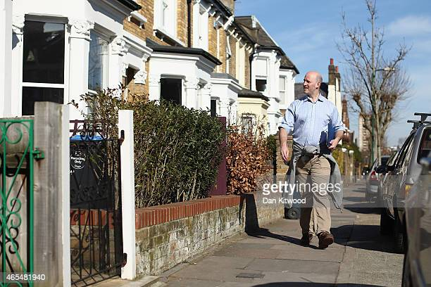 Simon Marcus the Conservative candidate for Hampstead and Kilburn canvasses around Kilburn on March 7 2015 in London England Today marks the two...