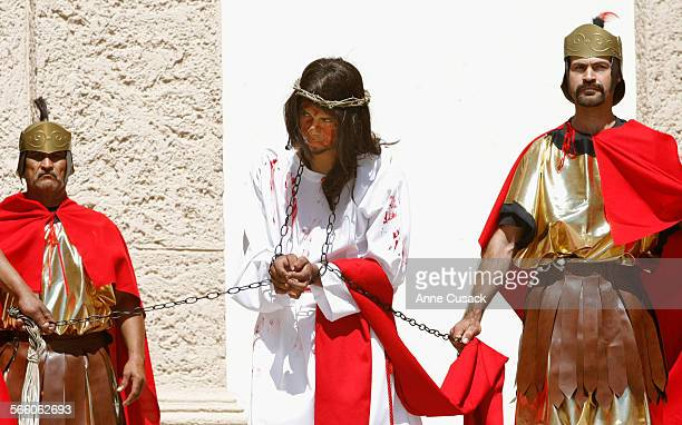 Simon Mares 19 plays Jesus Christ who is arrested chained and crowned with thorns by Roman soldiers as eight churches for the first time joined...