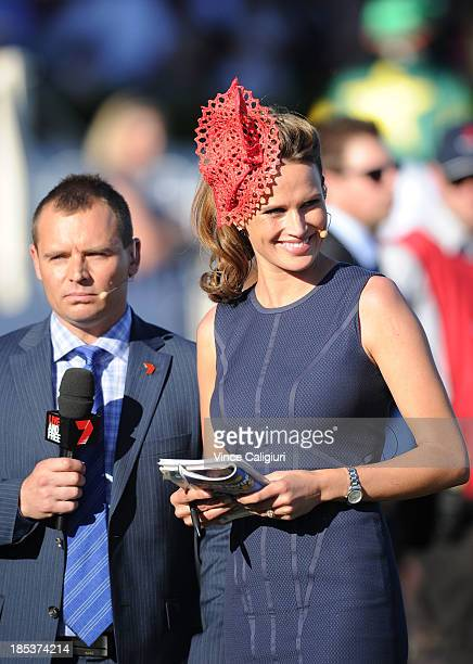 Simon Marshall and Francesca Cumani co- hosts of channel seven's coverage during Caulfield Cup day at Caulfield Racecourse on October 19, 2013 in...