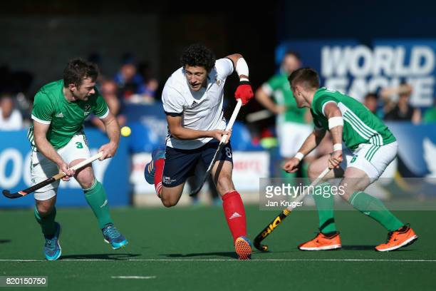 Simon Martin Brisac of France attempts to keep possesion while under pressure from John Jackson of Ireland and Shane O'Donoghue of Ireland during the...