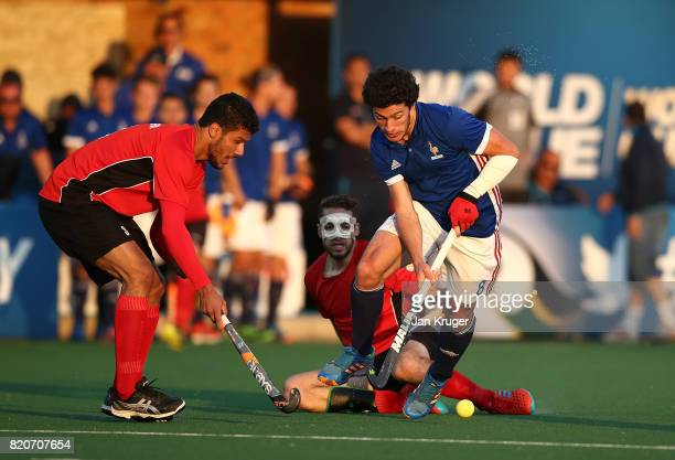 Simon Martin Brisac of France battles with Mostafa Mansour of Egypt during day 8 of the FIH Hockey World League Men's Semi Finals 5th/ 6th place...