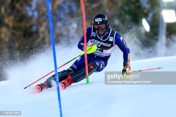 Simon Maurberger of Italy competes during the Audi FIS Alpine Ski World Cup Men's Slalom on January 5, 2020 in Zagreb Croatia.