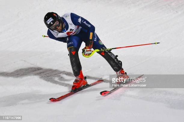 Simon Maurberger of Italy competes in the first run during the Audi FIS Alpine Ski World Cup - Men' s Slalom on January 28, 2020 in Schladming,...