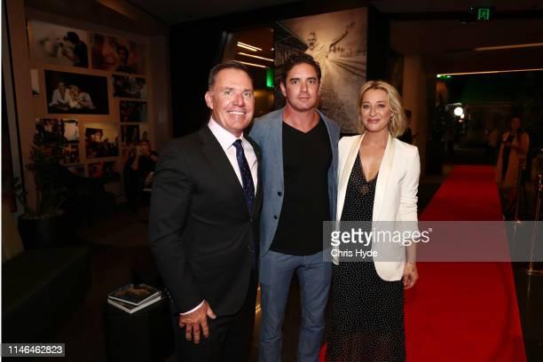 Simon McGrath, Artist Vincent Fantauzzo and Asher Keddie attend the Fantauzzo launch on May 02, 2019 in Brisbane, Australia.