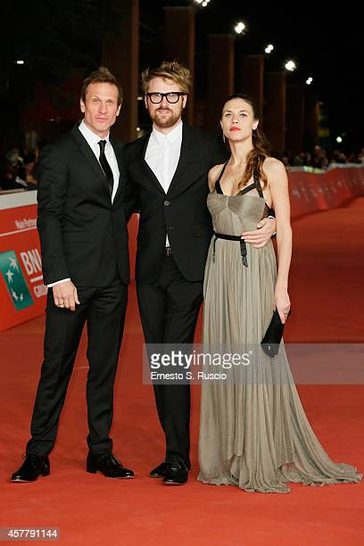 Simon Merrells Ana Ularu and Lorenzo Sportiello attends the 'Index Zero' Red Carpet during the 9th Rome Film Festival on October 24 2014 in Rome Italy