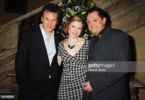 Simon Merrells Bryony Afferson and Alex Giannini attend the press night of 'On The Waterfront' at One Whitehall Place on February 12 2009 in London...