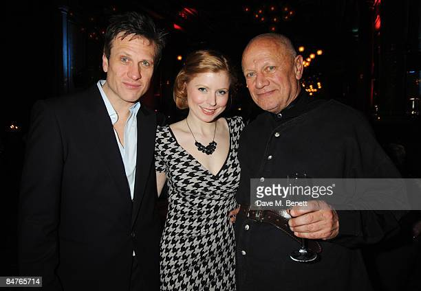 Simon Merrells Bryony Afferson and Steven Berkoff attend the press night of 'On The Waterfront' at One Whitehall Place on February 12 2009 in London...