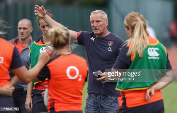 Simon Middleton the England head coach shouts instructions during the England Women training session held at The Lensbury on August 1 2017 in...