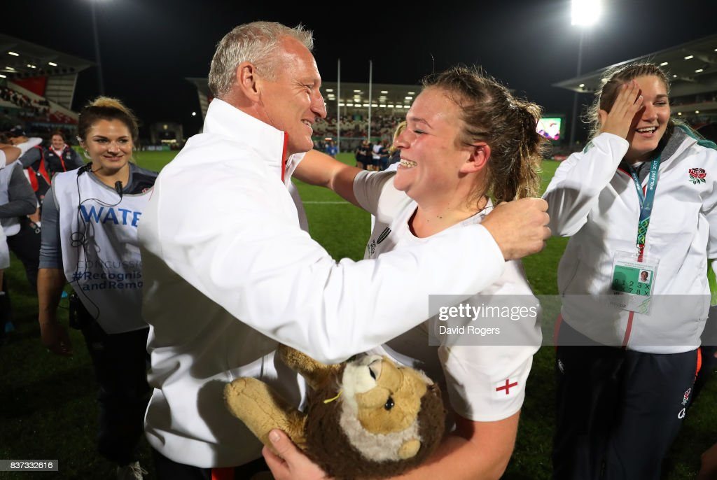 Simon Middleton the head coach of England congratulates player of the match, Sarah Bern of England following their team's 20-3 victory during the Women's Rugby World Cup 2017 Semi Final match between England and France at the Kingspan Stadium on August 22, 2017 in Belfast, United Kingdom.