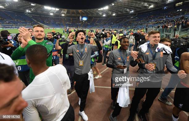 Simon Mignolet Curtis Jones Conor Masterson and Rafael Camacho of Liverpool celebrates the victory at the end of the UEFA Champions League Semi Final...