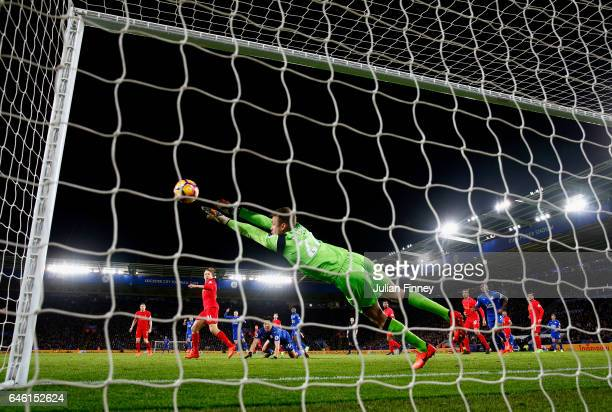 Simon Mignolet goalkeeper of Liverpool makes a save during the Premier League match between Leicester City and Liverpool at The King Power Stadium on...