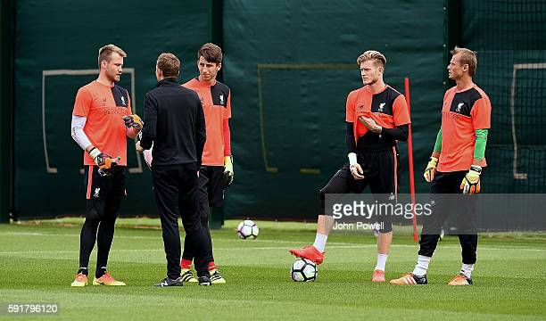 Simon Mignolet Loris Karius and Alex Manninger of Liverpool during a training session at Melwood Training Ground on August 19 2016 in Liverpool...