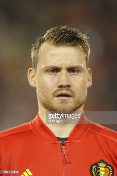 Simon Mignolet of Belgium during the friendly match between Belgium and Saudi Arabia on March 27 2018 at the Koning Boudewijnstadion Stadium in...