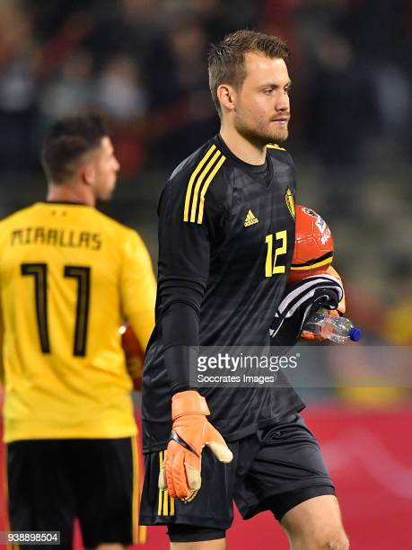 Simon Mignolet of Belgium during the International Friendly match between Belgium v Saudi Arabia at the Koning Boudewijnstadion on March 27 2018 in...