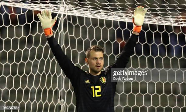 Simon Mignolet of Belgium issues instructions during the international friendly match between Belgium and Saudi Arabia at the King Baudouin Stadium...