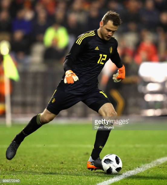 Simon Mignolet of Belgium kicks the ball upfield during the international friendly match between Belgium and Saudi Arabia at the King Baudouin...
