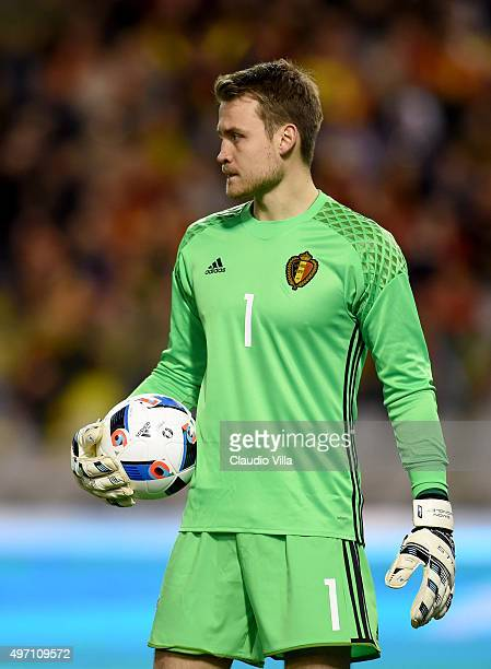 Simon Mignolet of Belgium looks on during the international friendly match between Belgium and Italy at King Baudouin Stadium on November 13 2015 in...