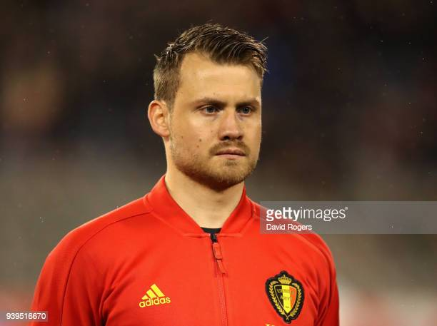 Simon Mignolet of Belgium looks on during the international friendly match between Belgium and Saudi Arabia at the King Baudouin Stadium on March 27...