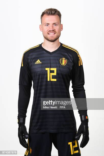 Simon Mignolet of Belgium poses for a portrait during the official FIFA World Cup 2018 portrait session at the Moscow Country Club on June 14 2018 in...