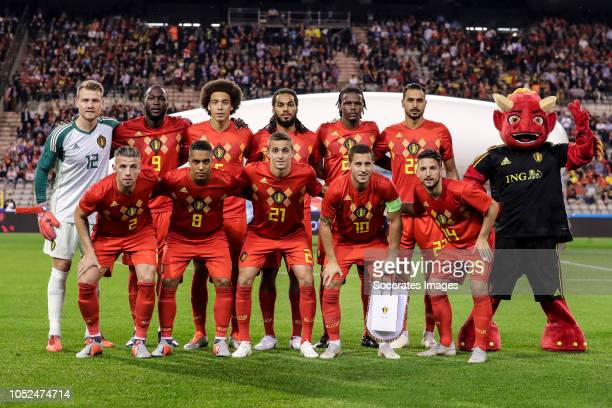 Simon Mignolet of Belgium Romelu Lukaku of Belgium Axel Witsel of Belgium Jason Denayer of Belgium Timothy Castagne of Belgium Nacer Chadli of...