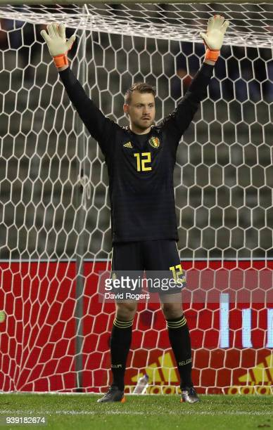 Simon Mignolet of Belgium shouts instructions during the international friendly match between Belgium and Saudi Arabia at the King Baudouin Stadium...