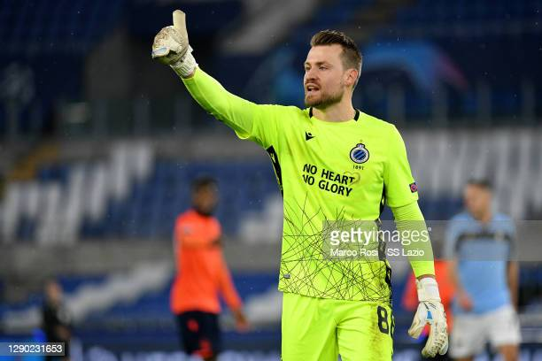 Simon Mignolet of Club Brugge KV during the UEFA Champions League Group F stage match between SS Lazio and Club Brugge KV at Stadio Olimpico on...