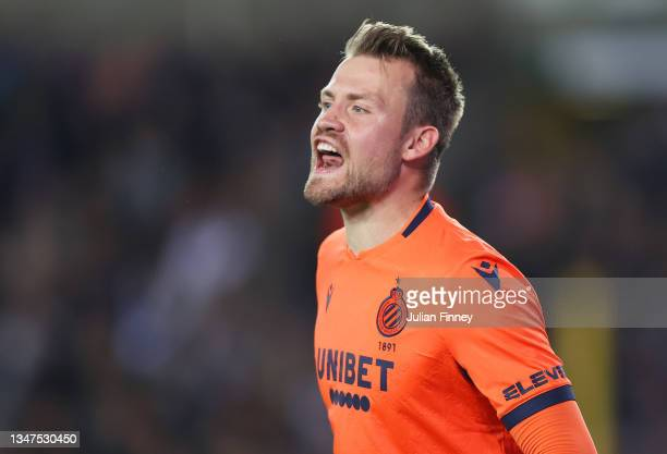 Simon Mignolet of Club Brugge reacts during the UEFA Champions League group A match between Club Brugge KV and Manchester City at Jan Breydel Stadium...