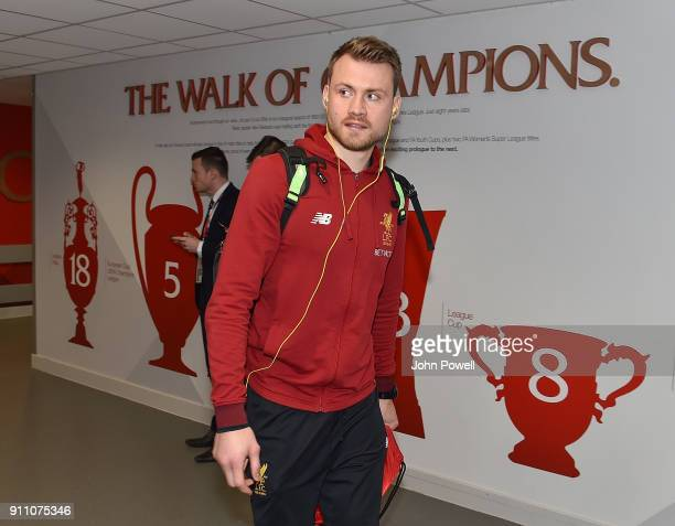 Simon Mignolet of Liverpool arrives at Anfield before The Emirates FA Cup Fourth Round match between Liverpool and West Bromwich Albion at Anfield on...