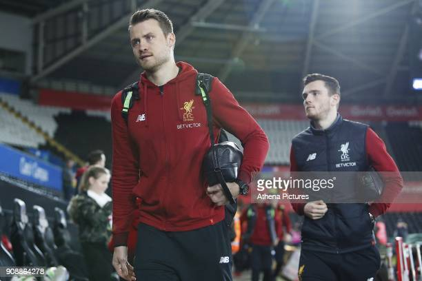 Simon Mignolet of Liverpool arrives at Liberty Stadium prior to kick off of the Premier League match between Swansea City and Liverpool at the...