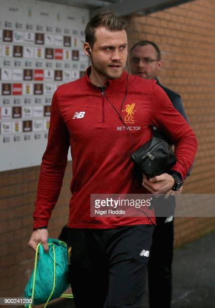 Simon Mignolet of Liverpool arrives at the stadium prior to the Premier League match between Burnley and Liverpool at Turf Moor on January 1 2018 in...