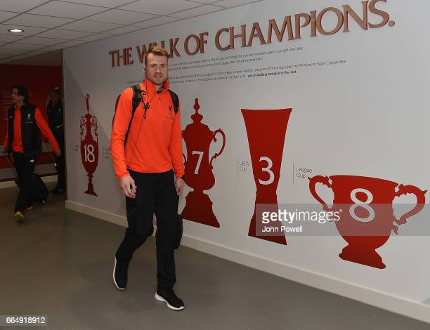 Simon Mignolet of Liverpool arrives before the Premier League match between Liverpool and AFC Bournemouth at Anfield on April 5 2017 in Liverpool...