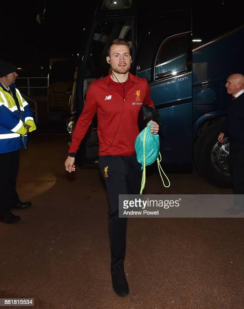 Simon Mignolet of Liverpool arrives before the Premier League match between Stoke City and Liverpool at Bet365 Stadium on November 29 2017 in Stoke...