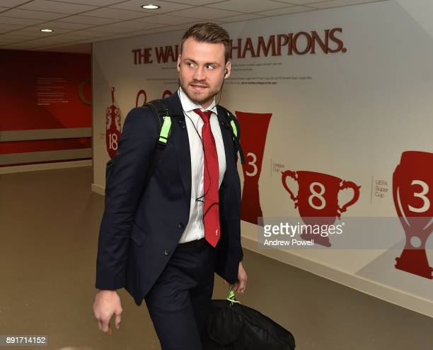 Simon Mignolet of Liverpool arrives before the Premier League match between Liverpool and West Bromwich Albion at Anfield on December 13 2017 in...